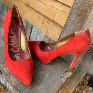 Sam Edelman red suede high heels